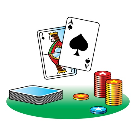 Black Jack poker casino gamble ace chips table Vector