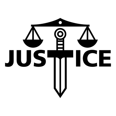 Justice weight sword truth court law judge Vector