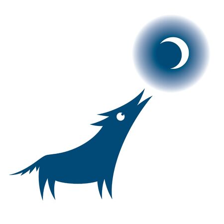 Wolf and Moon howling night animal dog Vector