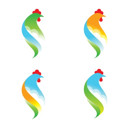 Chicken Sign abstract symbol farm bird nature Vector