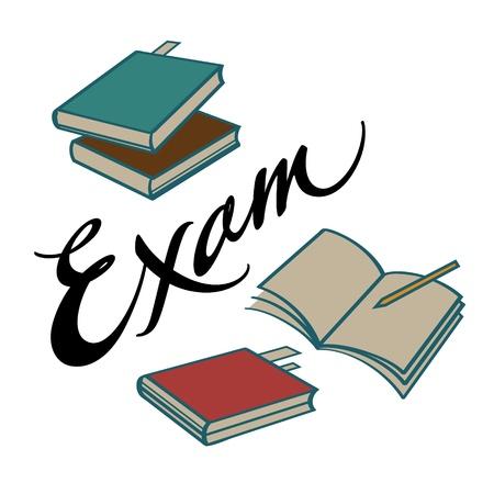 school exam: Exam college school graduation books knowledge study Illustration