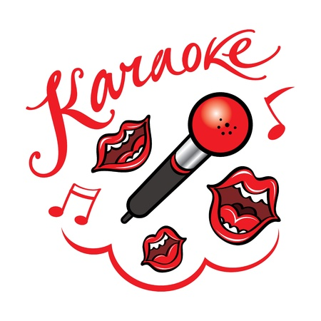 Karaoke singing song fun bar restaurant leisure Vector