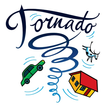 Tornado hurricane typhoon disaster storm house car cow damage Stock Vector - 21335964