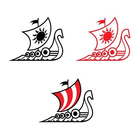 galley: Viking ship Drakkar medieval ancient military sailboat