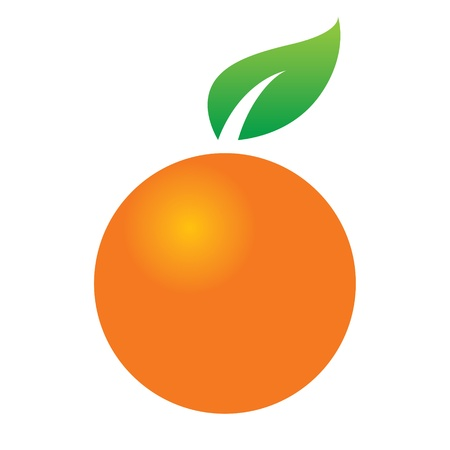オレンジの柑橘系の果物ジューシーなグリーン リーフ アイコン デザイン シンボル フード  イラスト・ベクター素材