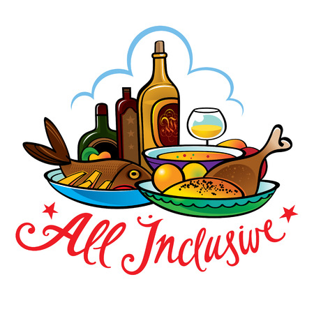 All inclusive food hotel resort breakfast lunch meal Vector