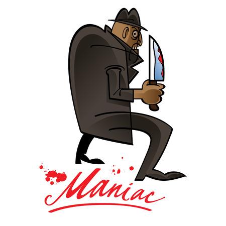 Maniac fear blood knife danger phobia killer Illustration