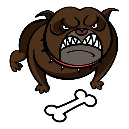 �spiked: Perro en rojo cuello claveteado con el hueso Vectores