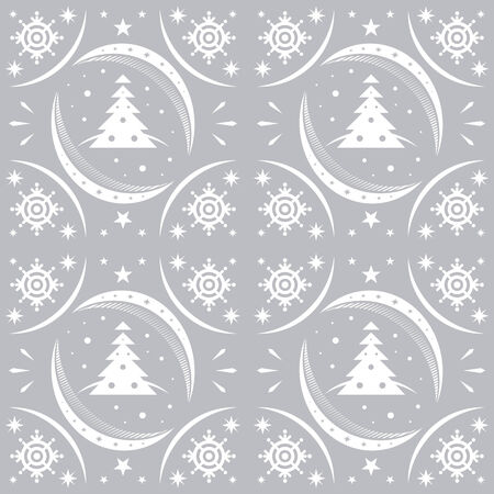 Winter pattern silver snowflakes and christmas trees Vector