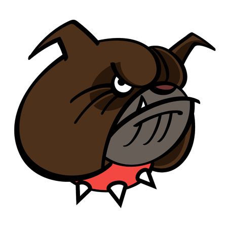 angry dog: Brown Bulldog is in red spiked collar