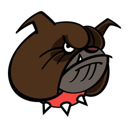 perro furioso: Bulldog Brown está en collar de pinchos rojo