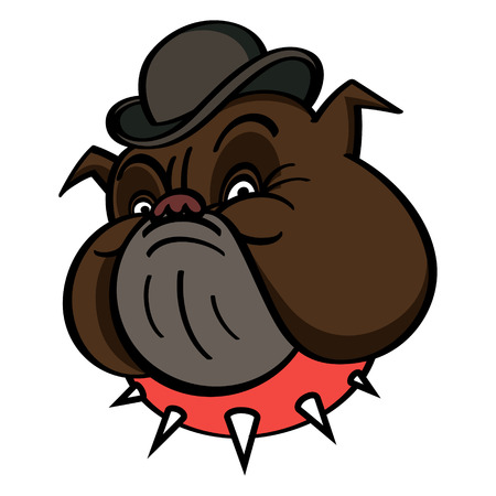 english bulldog: Dog in Bowler with red spiked collar