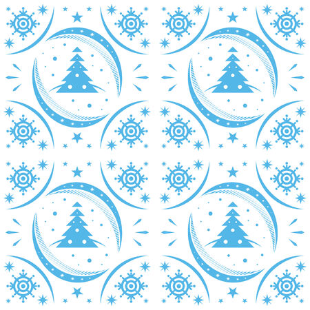 Winter pattern blue snowflakes and christmas trees Vector