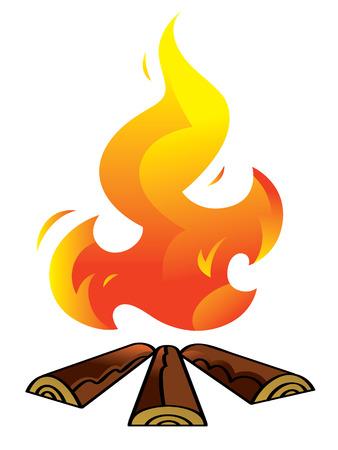 firewood: Bonfire - firewood and burning fire, hot flame Illustration