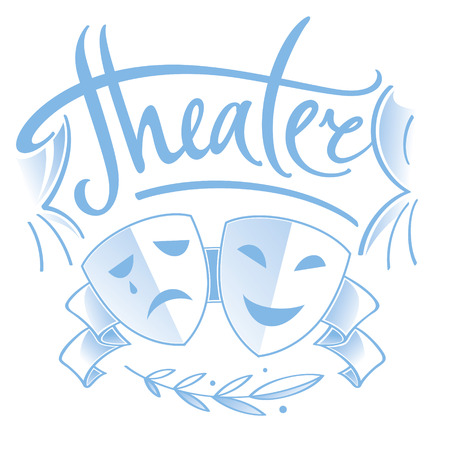 Theater - two masks, tragedy and comedy, curtain and laurel branch