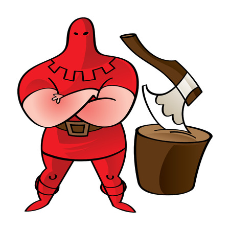 hubcap: Executioner in red - axe, wooden block, crime, punishment, death