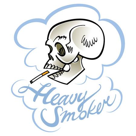 흡연자: Heavy smoker - human skull with cigarette 일러스트