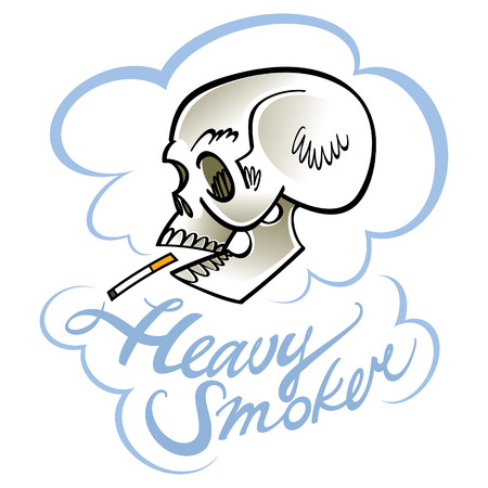 smokers: Heavy smoker - human skull with cigarette Illustration