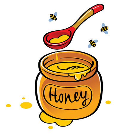 Honey jar with wooden spoon and bees