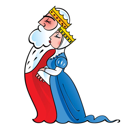 queen of diamonds: King and queen - royal, monarch, majesty, couple Illustration