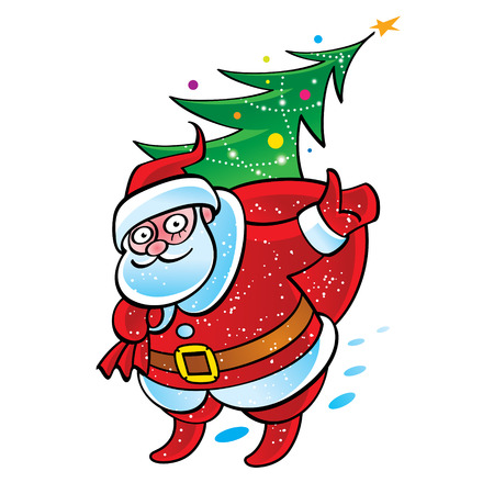 hubcap: Santa Claus with sack and Christmas tree