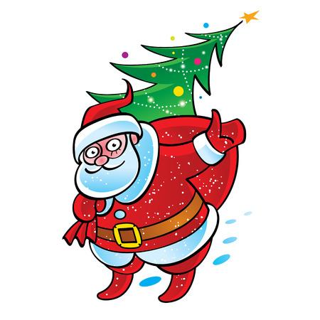 sack: Santa Claus with sack and Christmas tree