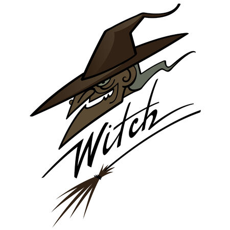 wooden hat: Old scary witch in hat with wooden broom