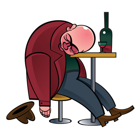 substance abuse: Alcoholic ? drunk man asleep on the table