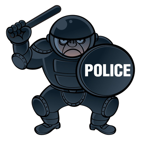 nightstick: Cop in protective equipment ? helmet, shield and nightstick