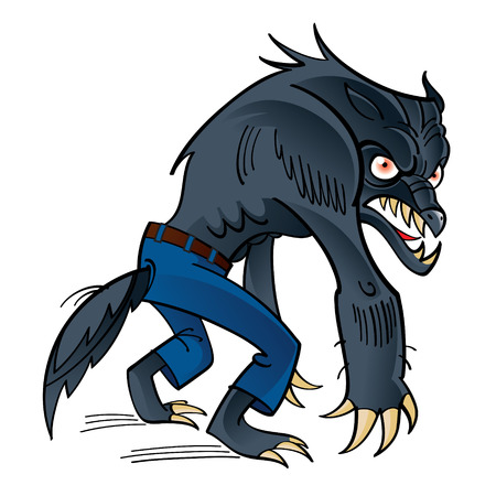 Werewolf - scary horrible ghoul in pants Vector
