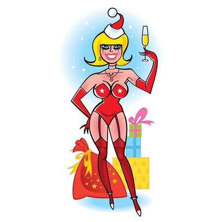 clip art wine: Christmas girl with gift sack and a glass of champagne