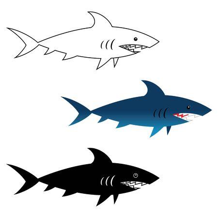 Illustration of great white shark, wild sea animal Illustration