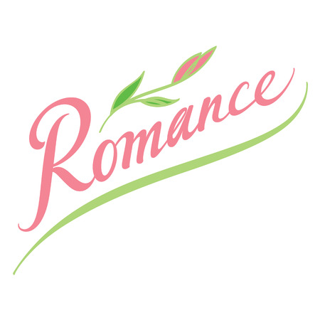 romance: Romance - Valentines Day abstract vector word inscription with flower