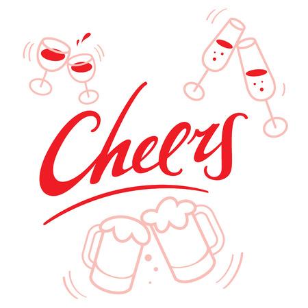 jarra de cerveza: Saludos - abstract vector palabra inscripción con las copas y jarras de cerveza para la celebración Vectores