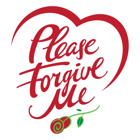Please forgive me - abstract vector word inscription, ask for forgiveness, with rose flower and heart shape Illustration