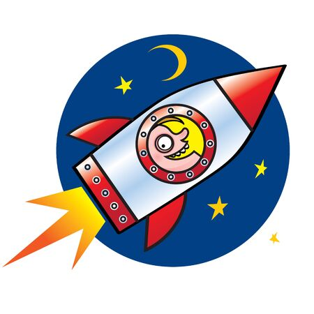 man in the moon: Spaceman - man flying in the rocket to the stars and moon Illustration