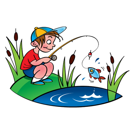 fishing reel: Young fisher  little boy fishing on the lake Illustration
