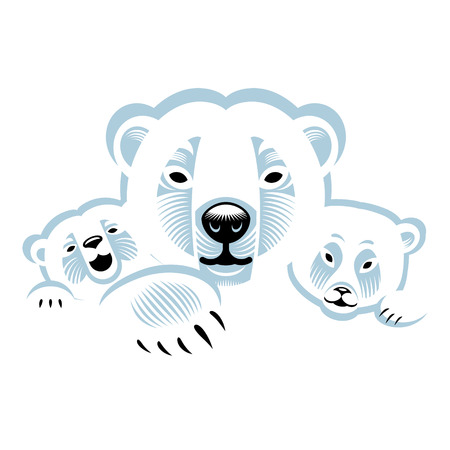 polar bear: Three white polar bears  animals family Illustration