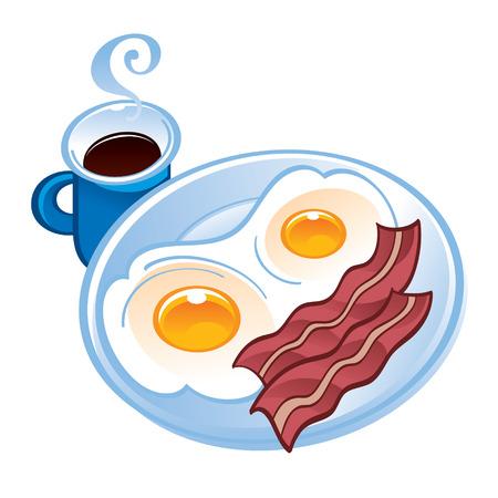 schmalz: Speck Tee und Spiegeleier auf dem Teller Illustration
