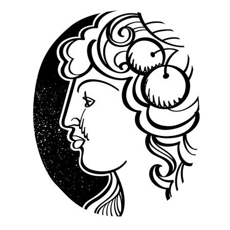 profiles: Womans profile - Demeter, ancient Greek goddess of fertility, agriculture, grain, and harvest Illustration