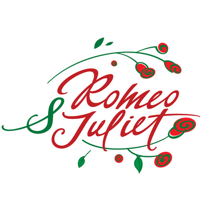 Romeo and Juliet - vector inscription with roses Иллюстрация