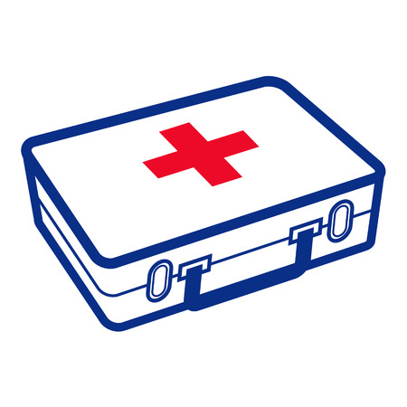 First aid kit - medical white box with red cross Иллюстрация