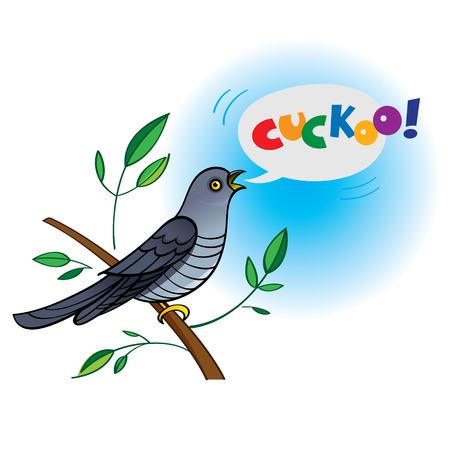 Singing Bird Cuckoo Sitting On The Branch Illustration