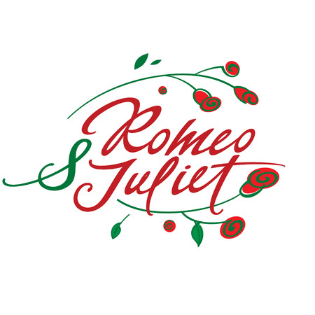 romeo and juliet: Romeo and Juliet - vector inscription with roses Illustration