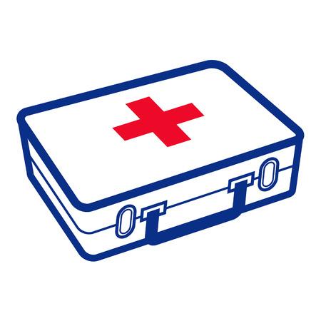 croix rouge: Trousse de premiers soins - bo�te blanche m�dicale avec la croix rouge Illustration
