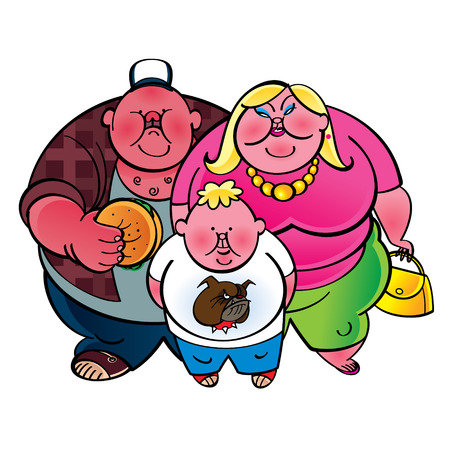 fatness: Fat family - father, mother and son Illustration
