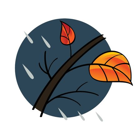 nature vector: Autumn - tree, red and yellow leaf, rainy weather
