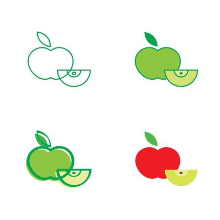 half of apple: Red and green apple - fresh fruit icon