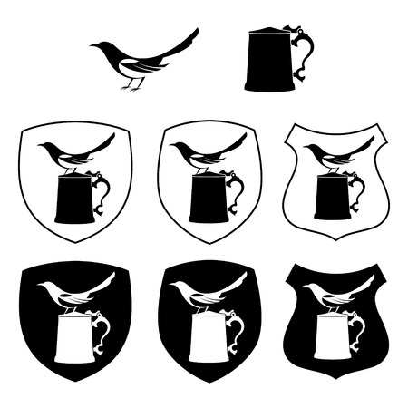 Magpie and beer mug, different shapes shields