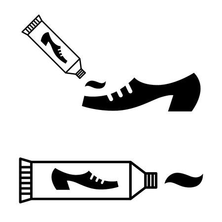 dirty feet: Tube of shoe polish cream - black and white icon